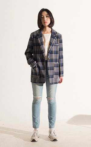 Single Check Wool Jacket