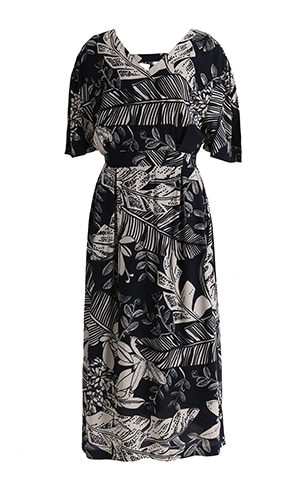 Flower Printing V Neck Dress