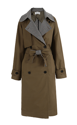 Check Coloring Trench Coat
