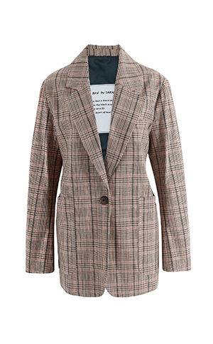 One Button Check Jacket