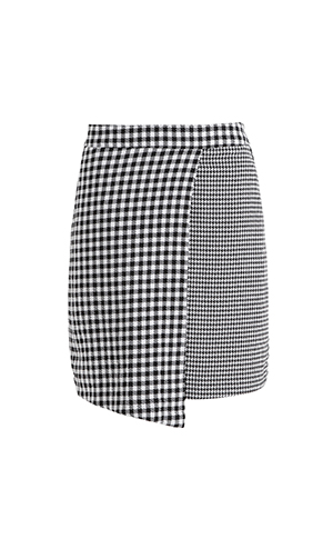 Check Wrap Mini Skirt