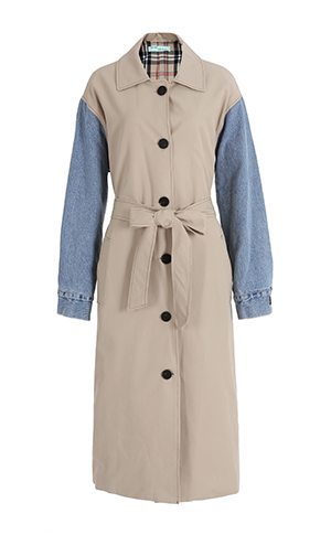Denim Sleeve Trench Coat