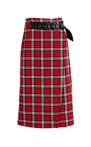 Check Belt Wrap Skirt